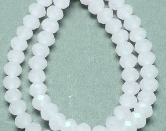 Set of 20 - white - 8 x 6 mm T44 faceted glass beads