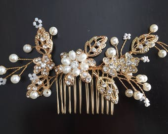 Gold Ivory Pearl Wedding Hair Comb, Gold Hair Comb, Gold Bridal Comb, Gold Wedding Comb, Gold Hair Clip, Gold Hair Accessory