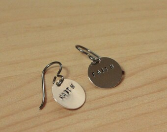Word of the Year Stamped Discs - Titanium Earrings / Niobium Earrings / Surgical Steel Earrings (Hypoallergenic for Sensitive Ears)