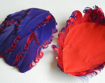 PURPLE AND RED Curly Feather Pads, Nagorie Feathers