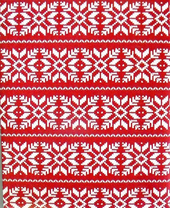 nordic sweater christmas wrapping paper red background with white snowflakes holiday gift wrap 10 ft x 2 ft 3048 m x 60 m roll - Christmas Wrap
