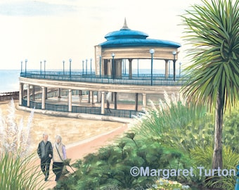 Eastbourne Bandstand Print, mounted and signed by artist