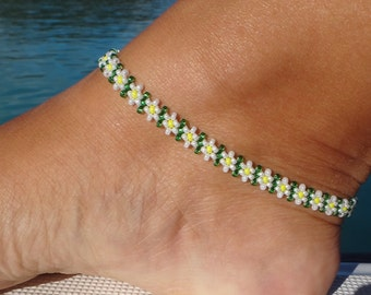 Anklet, Daisy Ankle Bracelet, Flower Seed Bead Anklet, Beach Anklet, Beadwork Jewellery,