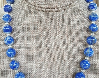 Large Lapis and Sterling Silver Necklace, 12mm Large Lapis Necklace, Lapis and Sterling Silver Beaded Necklace, Large Lapis Necklace