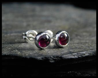 January birthstone earrings - Natural pink garnet gemstone cabochon, 5mm,  sterling silver bezel, second earrings, 230