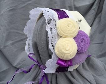 Purple tri-flower baby bonnet