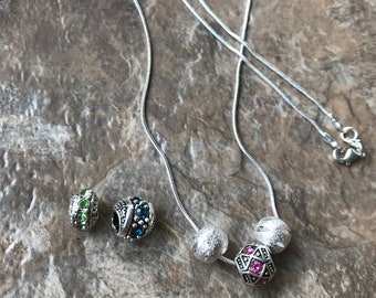 18 inch Silver Necklace; Green, Blue, Pink, Silver Necklace