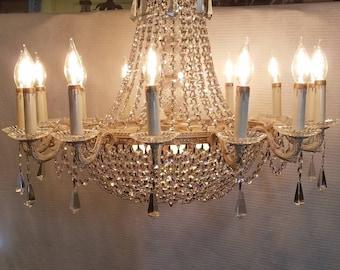Antique 14 light Empire style crystal Candelabra  Chandelier - Made in Spain - Heirloom Empire Candelabra