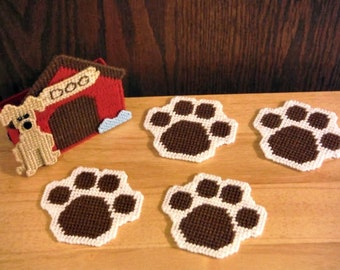 In The Dog House Coaster Set, plastic canvas, Dog Lover Gift, kitchen accessory, paw print, set of 4, Coasters for Men, dog decor, dog gifts