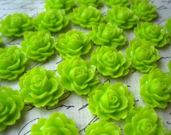 Resin Cabochon / 6 to 20 pcs Lime Green Ruffle Rose Resin Flowers / Rose Cabochons 18mm x 16mm