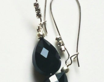 Black Onyx Crystal Tear Drop Earrings