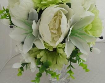 Peony, Lily & Gerbera Silk Bouquet, Wedding Bouquet, Bouquets, Bridesmaid Bouquet, Bride Bouquet, Pale Green wedding flowers, Silk Flowers
