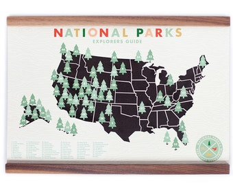 Original National Parks Map 11x17 print with tree stickers