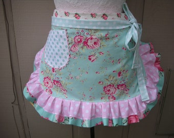 Womens Aprons - Aprons with Pink Roses - Handmade Aprons - Blue Aprons - Shabby Chic Blue Aprons - Annies Attic Aprons - Handmade Aprons
