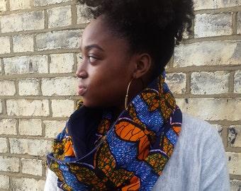 African print snood scarf, Ankara Scarf, Infinity scarf, Circle scarf, Cowl scarf, Afrocentric scarf, Fleece Scarf, Ethnic print scarf