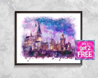 Harry Potter Hogwarts Castle Print, Hogwarts Castle Watercolor, Hogwarts Harry Potter Poster, Hogwarts Art, Harry Potter Party Decor, Gift