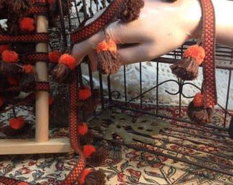 Trim, Vintage, Pom-Pom, Brown and Orange, Tribal, Embellishment, By the Yard