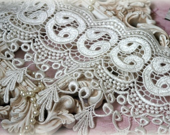 Wide Venice Lace Trim, Ivory Lace Fabric, Lace Appliques, Bridal Gowns, Couture Gowns, Dresses, Crafting, etc, approx. 8 inches GL-173