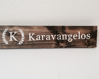 Personalized last name stained wooden sign