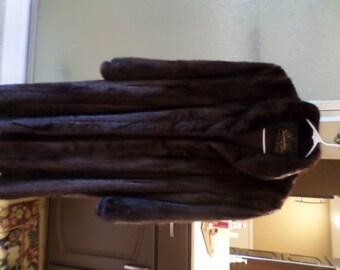 Vintage Brandenburg Furs-Hamilton/Middletown-Full Length Chocolate Brown Mink Coat-Women