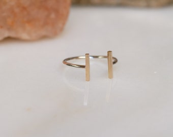 Simple, modern mixed metal open cuff ring
