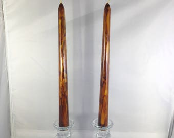 Taper Candles, Alcohol Ink Candles, Wood Inspired Decor, Home Decor, Candle Set