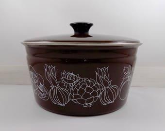 Brown Cera-Met Pot,enamel,metal,pot,pan,lid,metal pot with lid,rustic,camp,antique farmhouse,vintage kitchen,cooking pot,retro cookware