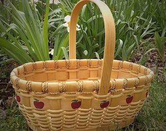 Apple Basket, Big Woven Basket, Large Wicker Basket, Picnic Basket, Vintage Country Cottage Decor, Chesapeake Bay Natural Basket with Handle