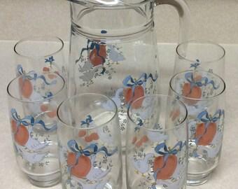 International China Company  Marmalade 7 Piece Refreshment Set - 1 Pitcher - 6 Glasses Made In USA