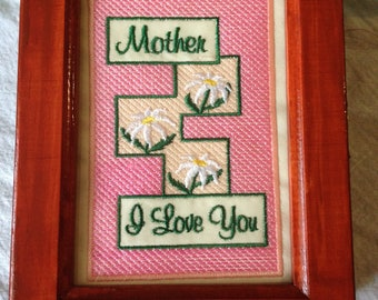 """Mother's Day Box, """"Mother, I Love You"""" Embroidered Sentiment Window,  Keepsake, Photo, Jewelry Box, Wooden, Handmade"""