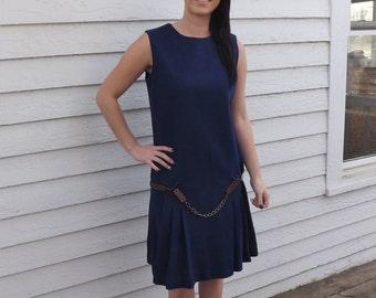 Blue Mod Dress Retro 20s Vintage 60s Wool Sleeveless Drop Waist 1960s 13 M