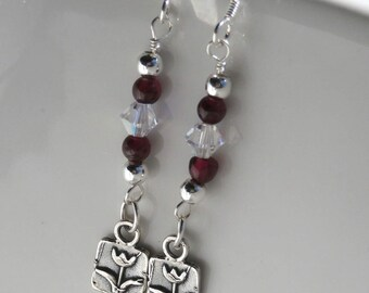 Sterling Silver Tulip Flower Dangle Earrings With Garnets And Swarovski Crystals