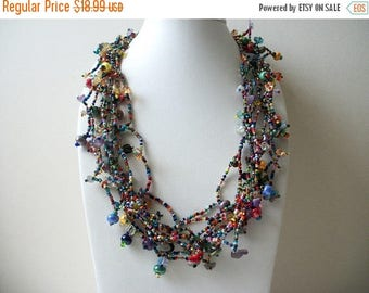 ON SALE Vintage Southwestern Multi Strand Glass Lamp Work Chunky Necklace 121416