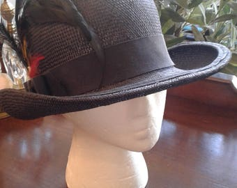 Navy Blue Vintage Straw Hat with Feathers
