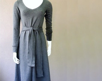 Long grey dress with a belt, custom-made in 21 colors