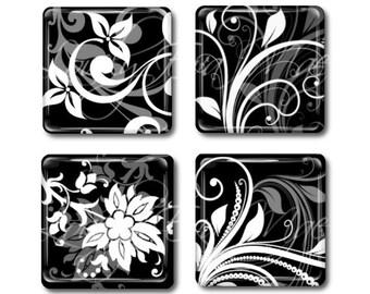 Set of 4,Black & White Magnets, Glass Tile Magnets, Glass Magnets, Refrigerator Magnets, Fridge Magnets