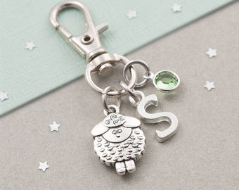 Lamb purse charm, lamb bag charm, zipper charm, personalized gift, swarovski birthstone, animal keychain, farm animal, sheep purse charm