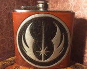 Jedi Order Symbol Leather Flask Handcrafted Star Wars Fandom - 6oz Stainless Steel Flask - MADE TO ORDER