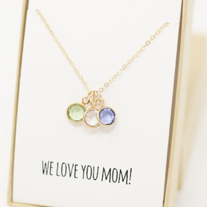 Mom Birthstone Charm Necklace - Mothers Day Gift - Mom Necklace - Mom Gifts - Children Birthstones