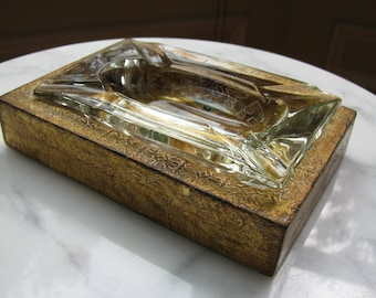 Florentine Ash Tray Holder, Glass Insert, Made in Italy, Florentia, Gilt Decor, Tobacciana