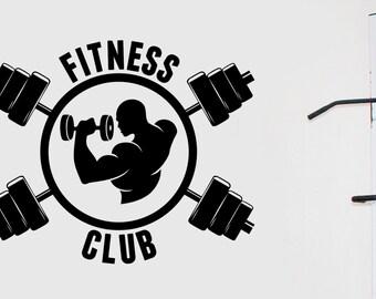 Fitness Club Logo Wall Decal Vinyl Window Sticker Art Decorations for Sports Room Gym Bodybuilding Center Studio Decor Ideas fgm19