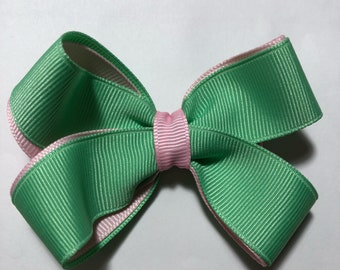 Mint Green and Ligt Pink Hair Bow