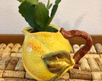 Hand-Painted and Hand-Crafted Yellow Lemon Pitcher with Live Succulent Plant