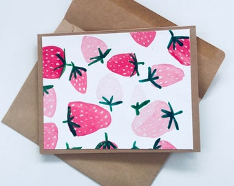 Strawberry Watercolour Greeting Card, Handmade Original Painting, Blank Inside, Happy Birthday, Thank you card