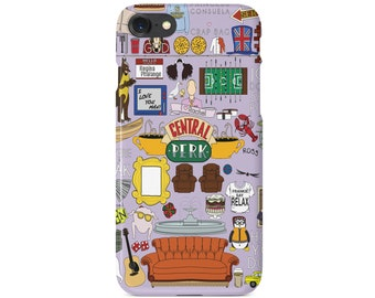 Friends Central Perk Purple Collab  Phone Case | Friends Comedy Show | Hardcover iPhone 6 6S Plus 7 7+ 8 8+ X | Samsung Galaxy S6 S7 Edge