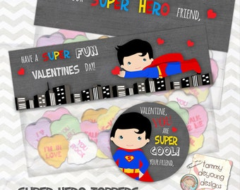 Super Hero Valentine Treat Toppers and Labels for kids * DIY Valentine Printable with Superman  can be personalized
