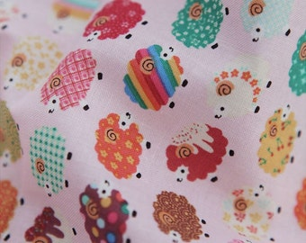 Cotton Fabric Sheep Pink By The Yard
