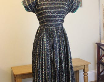 "1940s Jules Canton Frock ""Flower Your Heart"" Dress"