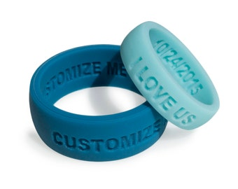2 Ring Set! - HIS AND HERS Personalized Silicone Wedding Ring Band Anniversary Gift for Men & Women couples gift Custom silicone Ring fit