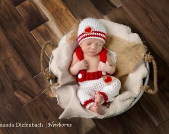 Newborn Photo Prop/Valentines Day Newborn Prop/ Red and White Prop/ Gender Neutral Prop/ Baby Shower Gift/ Baby Boy Gift/ Crochet Newborn